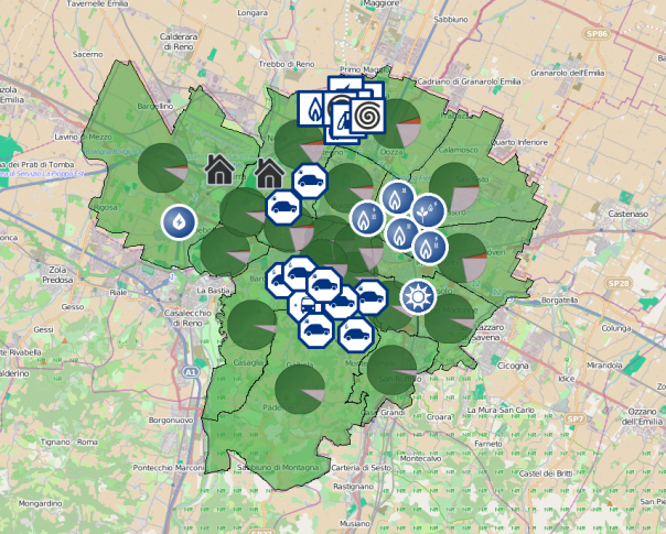Map view of the city of Bologna in the tool, representation on consumption, production and transportation